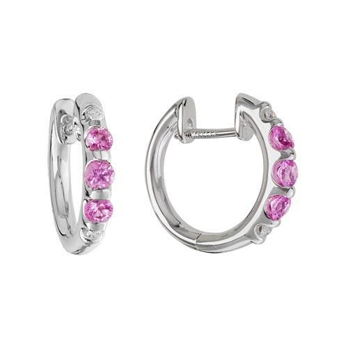 sapphire jewelry - schwanke-kasten jewelers hoop earrings with pink sapphires in 14k white gold